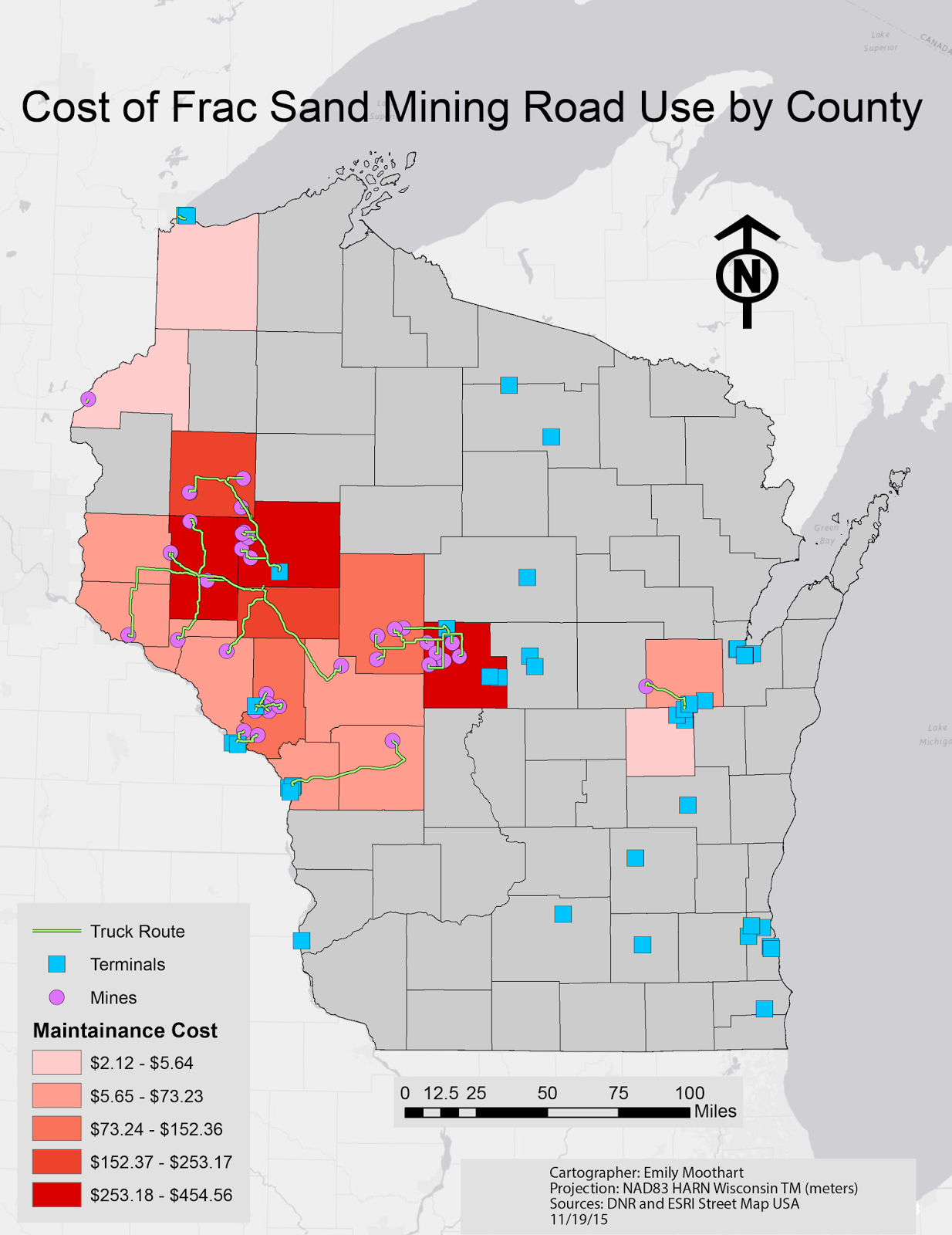 cost analysis map which depicts the cost that is inhibited from trucking sand to market by each county the counties in grey were not calculated for their