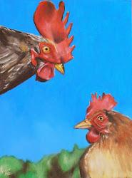 Le coq et sa poule, acrylique