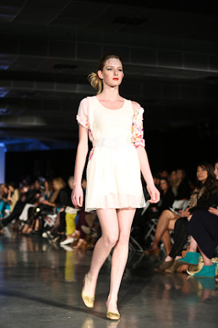 ecofashion week value village thrift chic show, posing in vintage, thrift chic spring looks, white dress with pink shirt