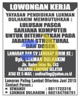 Lowongan Kerja Yayasan Pendidikan LUKMAN DULHAKIM Lampung, Minggu 19 April 2015