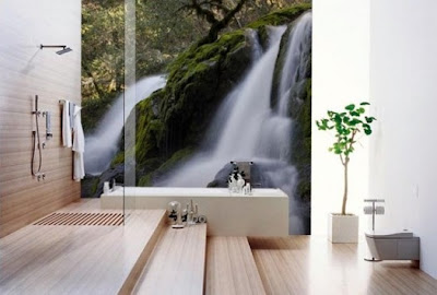 decoración con fotomural en el baño