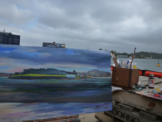 oil painting of Goat Island from Moore's Wharf, Millers Point by artist Jane Bennett