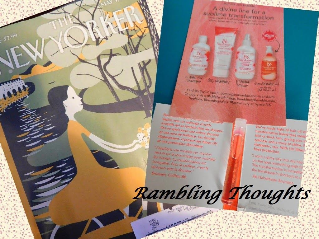Rambling Thoughts, Mail, Free, Products, Samples, Coupons, The New Yorker, Bumble and Bumble