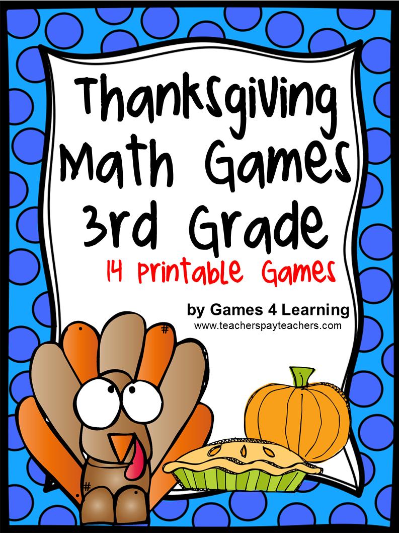 Thanksgiving Math Games Third Grade