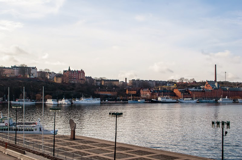 view of stockholm city and harbour from old town
