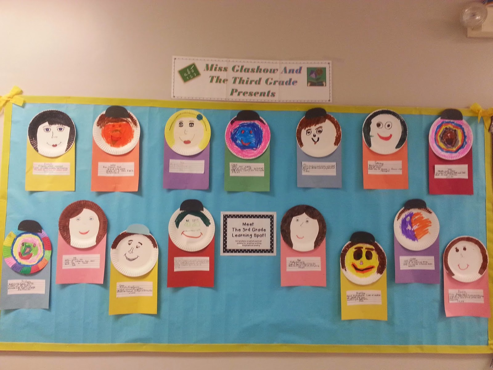 our bio poem paper plate people. & The Third Grade Learning Spot: September Snapshots