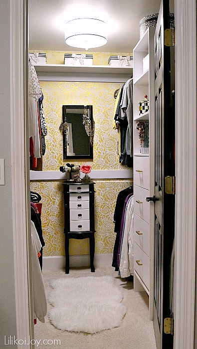 Master Closet Makeover and Stenciling a Glam Wall