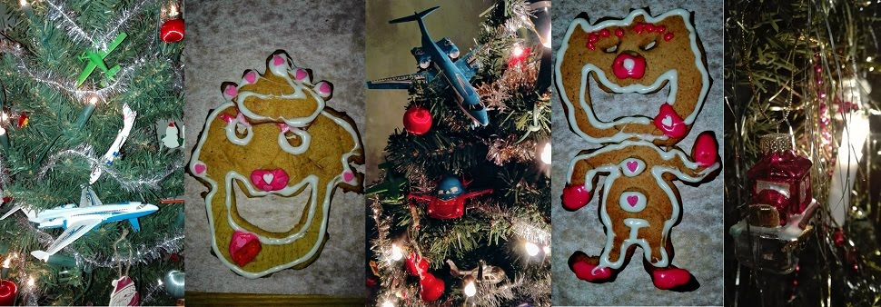 Joulukuusen voi koristeilla lentokoneilla ja helikoptereilla ja pipareista voi tehdä hassuja ukkoja.