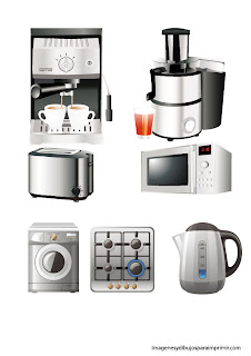 coffee maker, microwave, washing machine