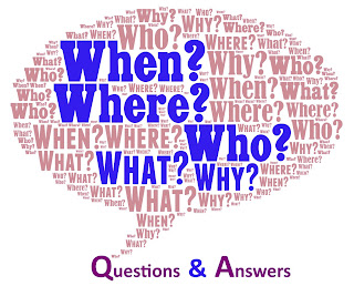 Illustration of many words and phrases aimed to convey the idea that this page is dedicated to Questions & Answers