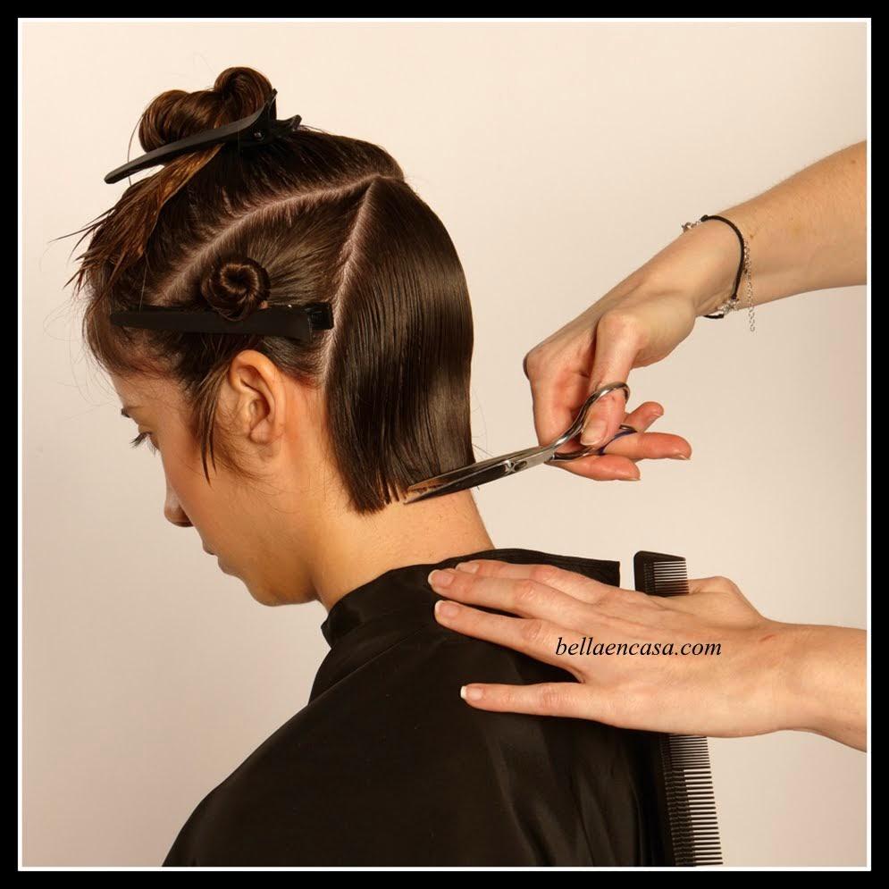 cabello chocolate con mechas marrones y corte bob paso a