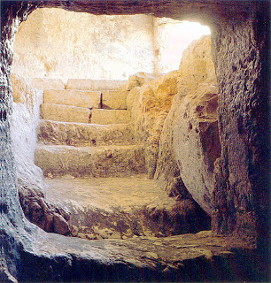 View from inside of the Jesus empty Tomb religious image