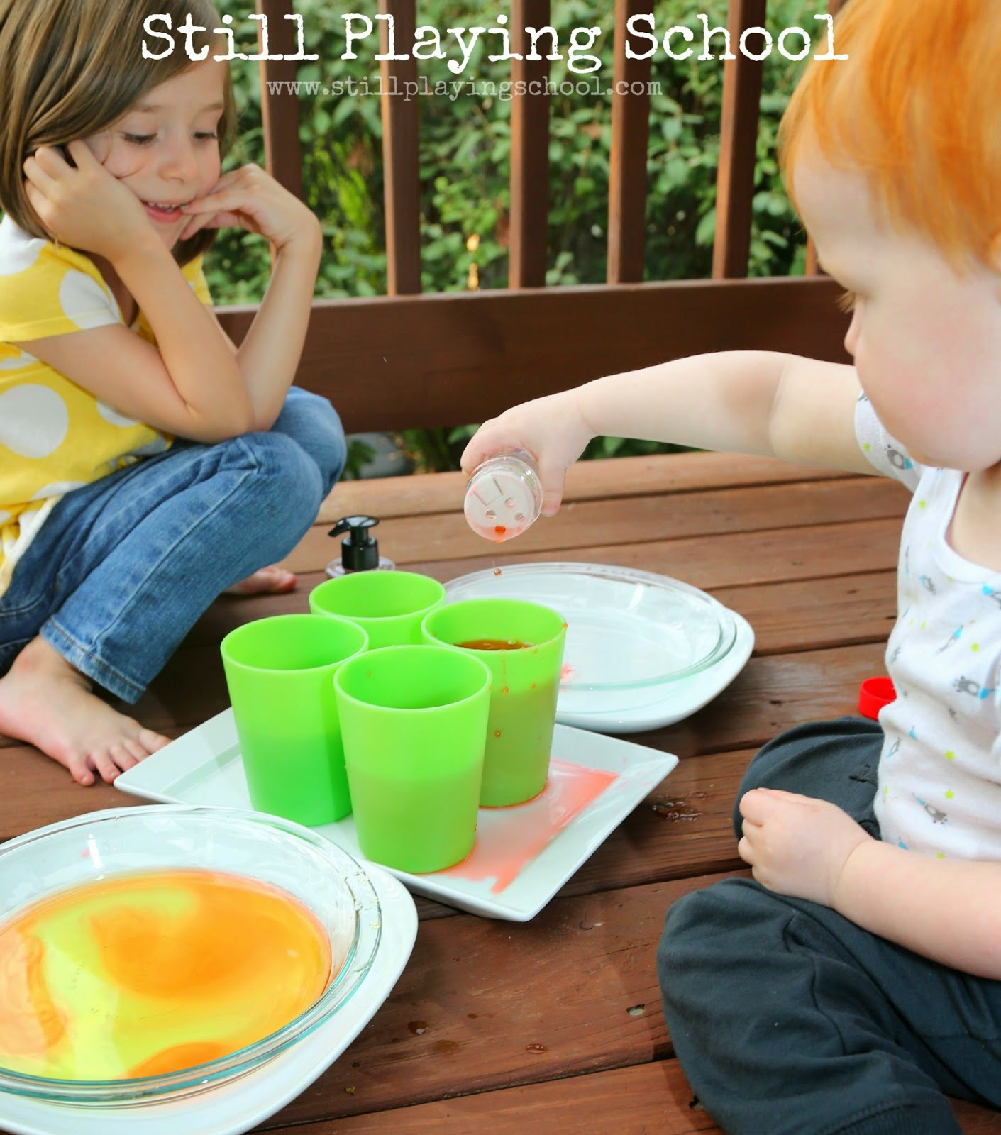 Sensory Fall Colors Water Mixing | Still Playing School