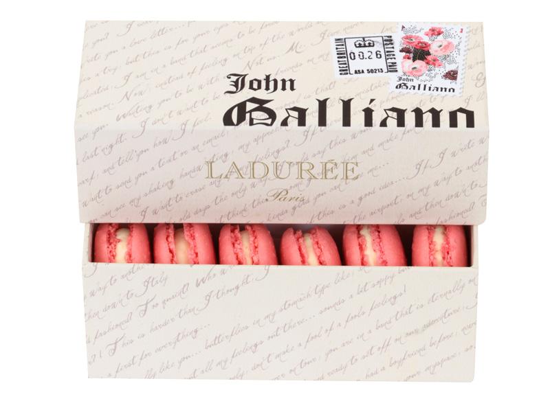 coffret entre ouvert design Joh galliano avec macarons roses à l'interieur