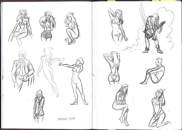 Bocetos de chicas desnudas nude girls Miguel Porto