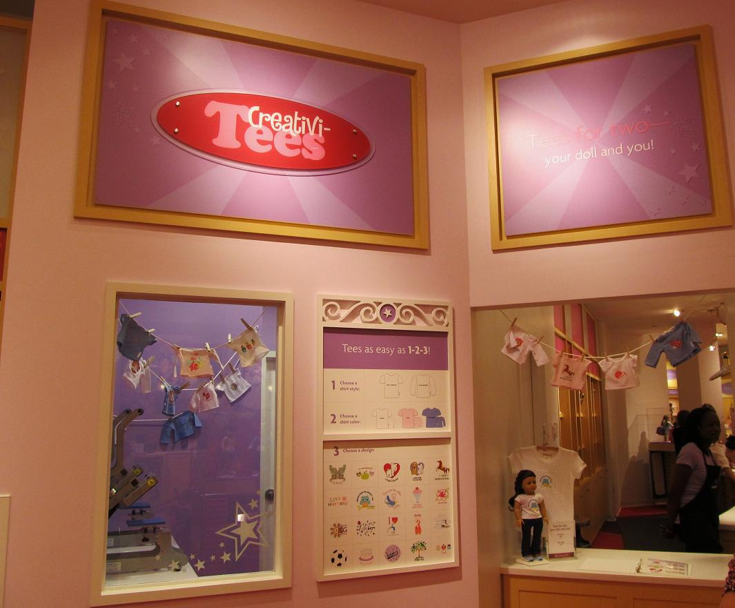 Maryland pink and green american girl tysons corner creativi tees is another fun area of the store girls can design tees for themselves and their favorite doll vtopaller Images