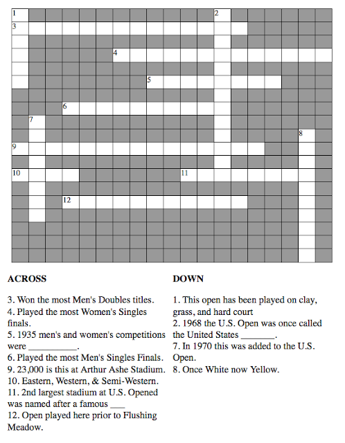 Tennis Fan June Crossword Puzzle