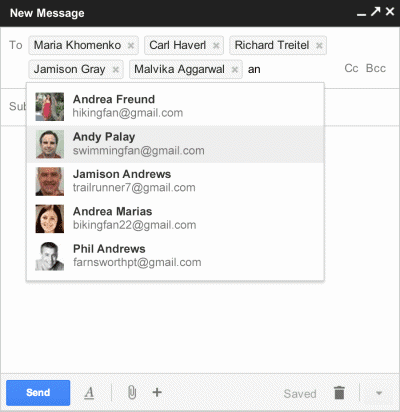 Gmail's Interface Composing Messages