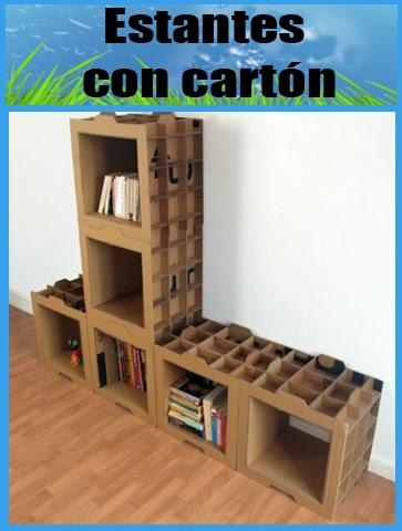 Reciclando diverso tutorial estantes con cart n - Estantes reciclados ...