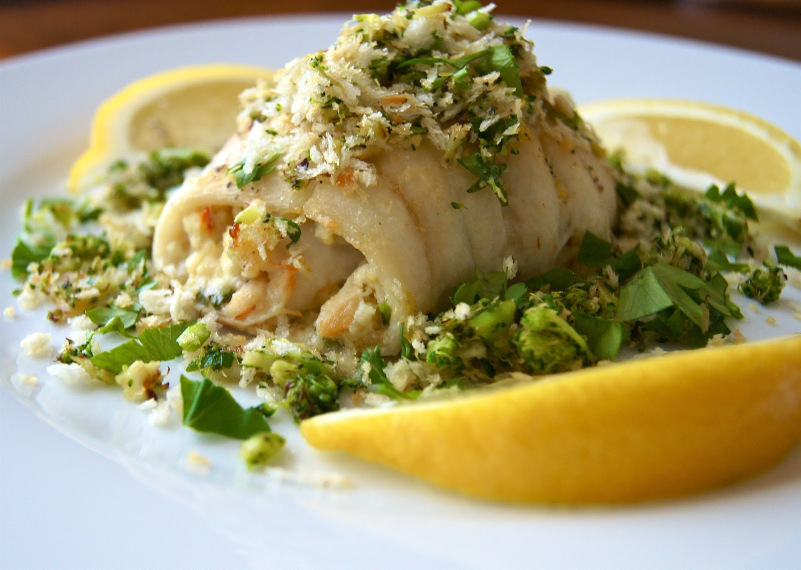 Find this recipe here: Crab-Meat-Stuffed Sole with Broccoli Topping .