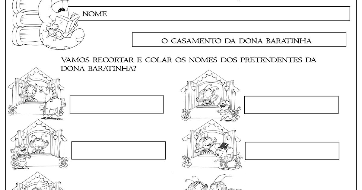 Famosos Atividade Dona Baratinha Corte e Recorte Educativo | Ideia  MK86