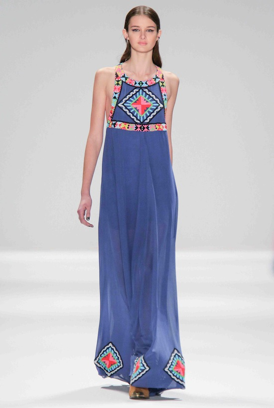 Mara Hoffman Runway Fall 2013 Blue Beaded Maxi Dress