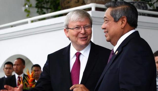 Presiden Susilo Bambang Yudhoyono bersama PM Australia Kevin Rudd. | REUTERS