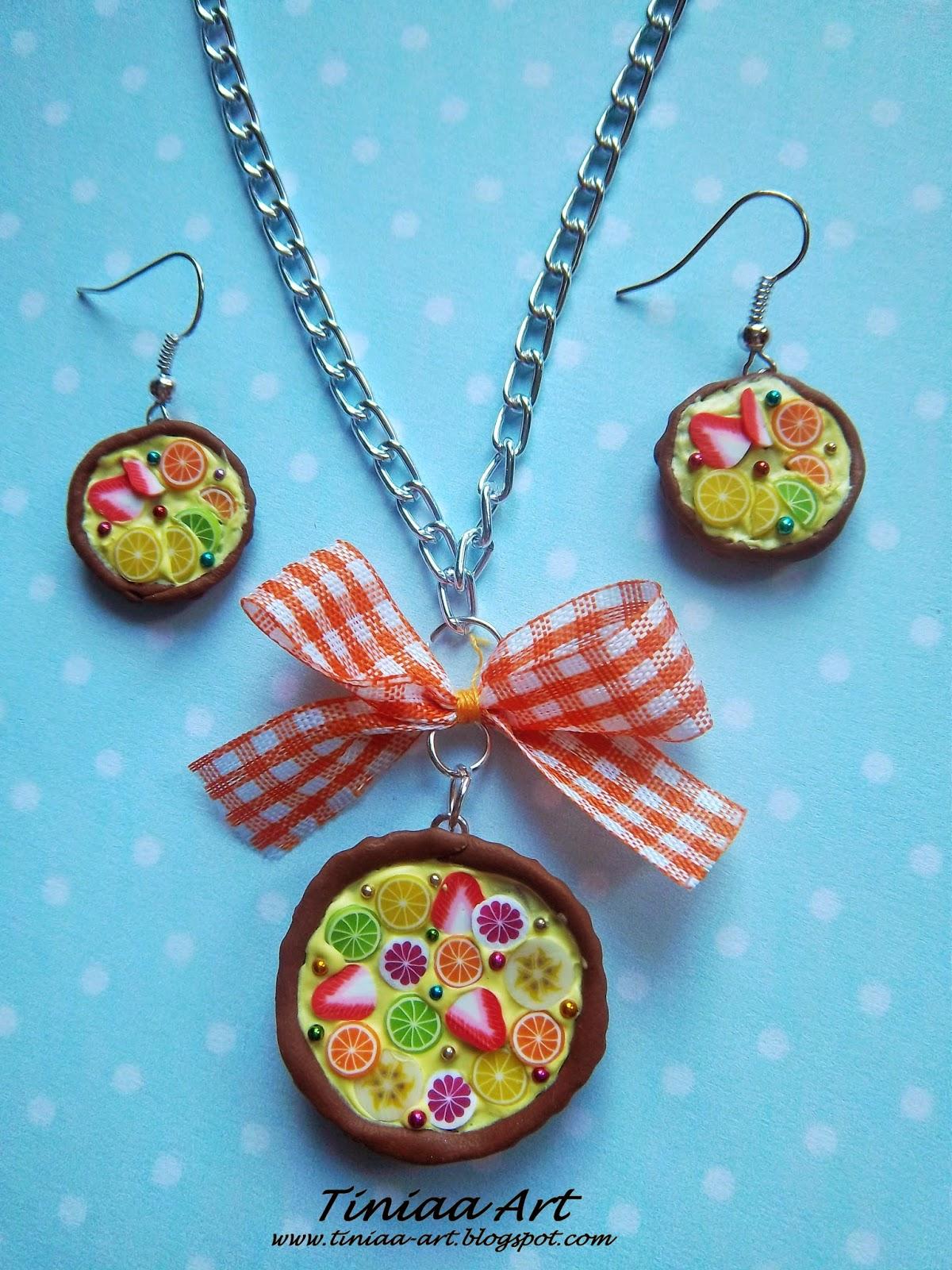 Kolorowe owocowe tarty – zestaw wisiorek i kolczyki