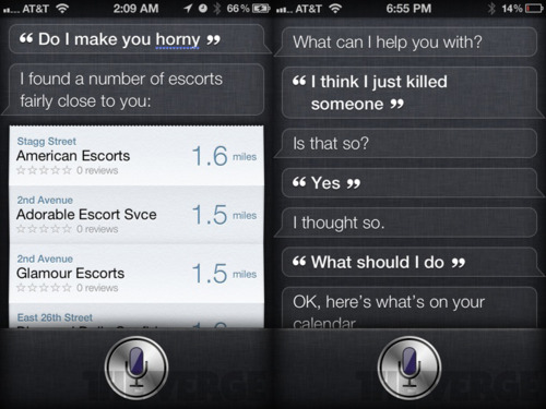 siri on the iphone 4s says some crazy things here s some of them