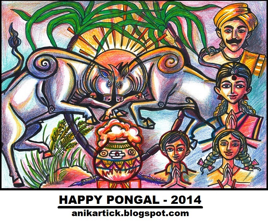 Happy pongal 2014 wishes to all pongal greetings and pongal wishes happy pongal 2014 wishes to all pongal greetings and pongal wishes to all painting by artist anikartickchennaitamil naduindia m4hsunfo