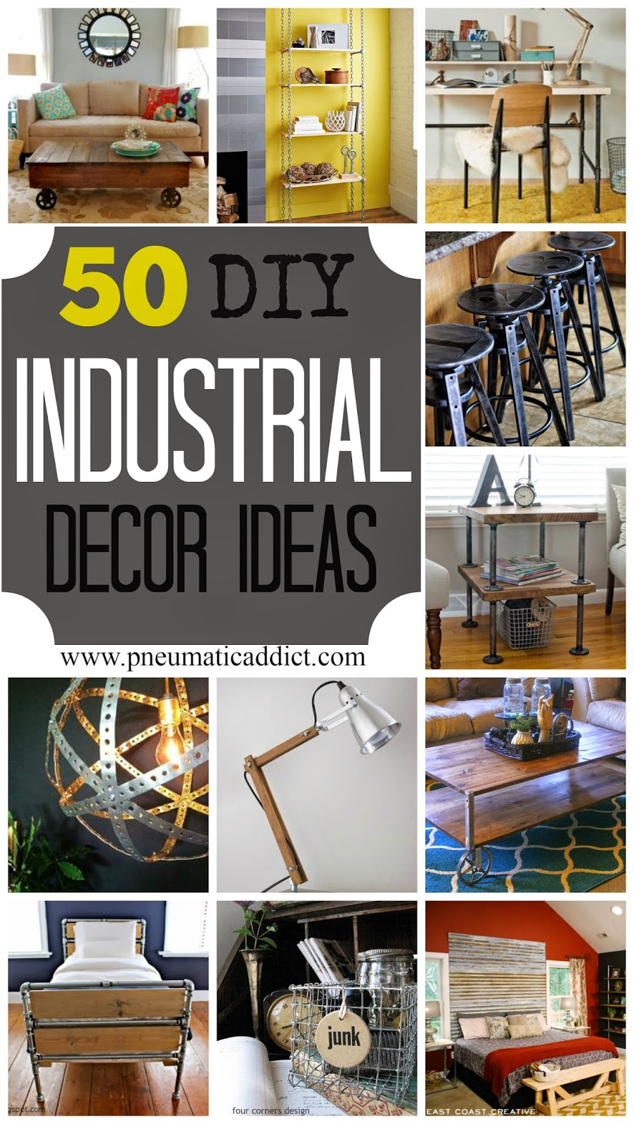 50 diy industrial decor ideas pneumatic addict. Black Bedroom Furniture Sets. Home Design Ideas