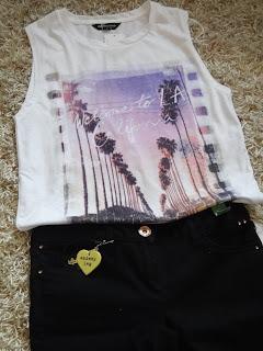 LA Dreams Tshirt, River Island, Skinny Black jeans
