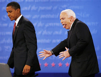 McCain and Obama playing grabass after a debate