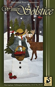 "Winter Solstice Wool Applique Wallhanging 10 1/2"" x 24"""