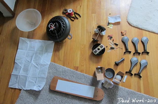 assemble ceiling fan, light, blades, screw, parts