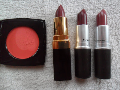 Chanel cream blush, Rouge Coco lipstick, MAC lipsticks
