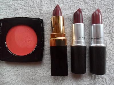 Chanel cream blush, Rouge Coco lipstick, MAC lipsticks