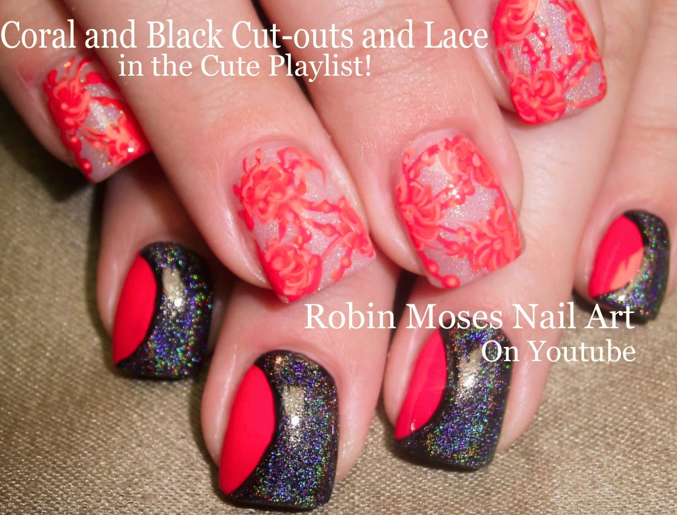 Nail Art By Robin Moses Spring Coral Color Blocking Lace And
