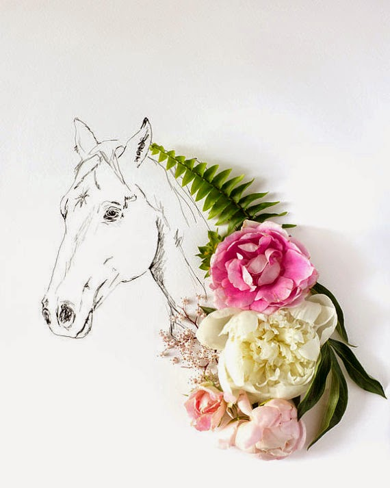 horse and flowers by kari herer