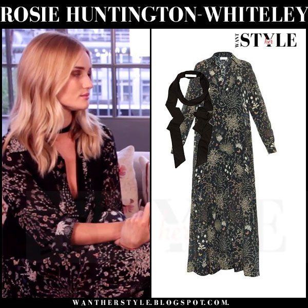Rosie Huntington-Whiteley in black herb print silk chloe maxi dress video interview for Glamour what she wore