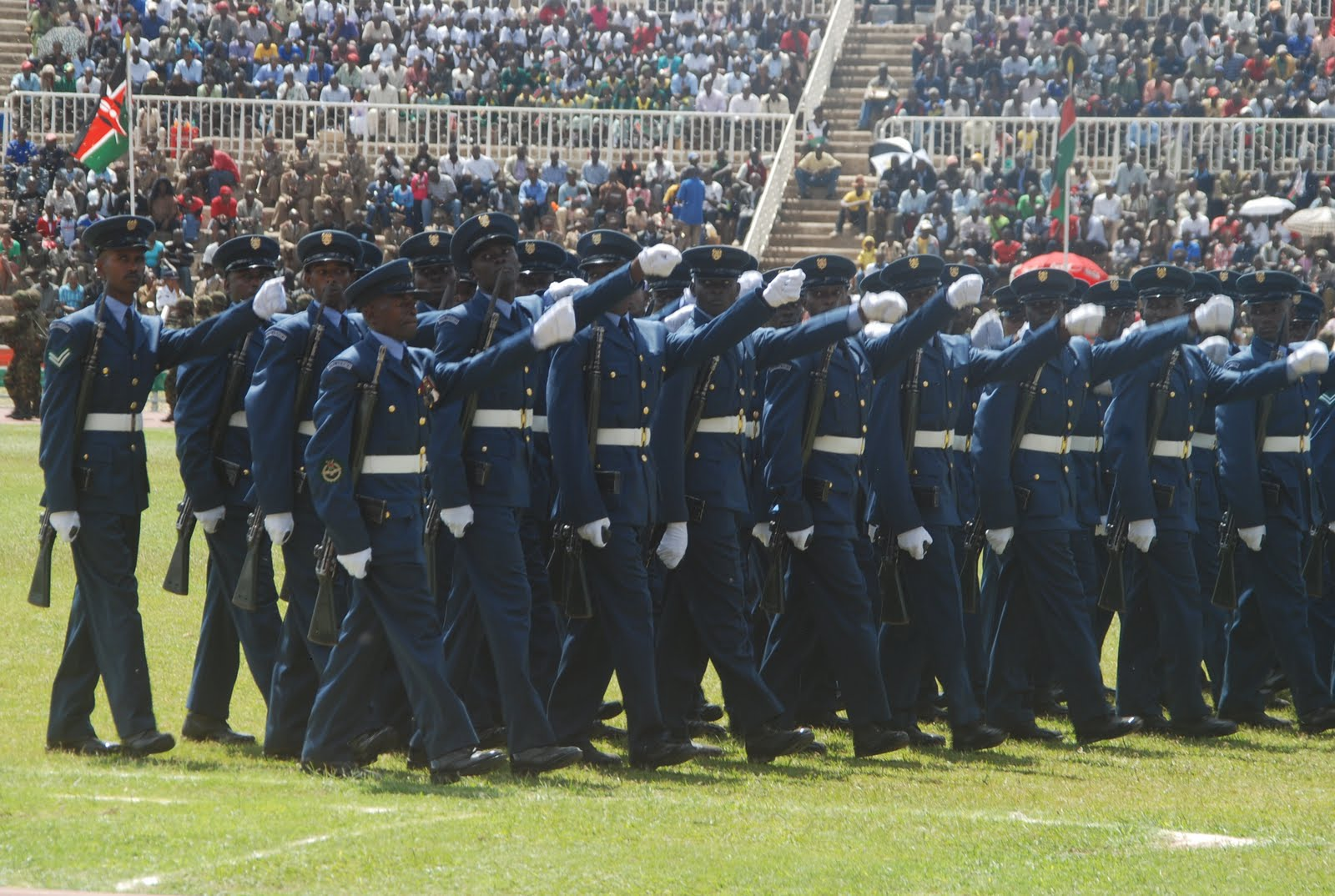 The Kenya Airforce matches out of Nyayo Stadium after the president ...
