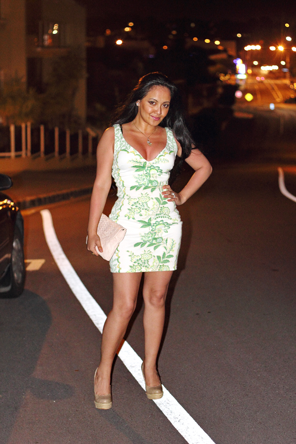 White and green patterned fashion dress for ladies