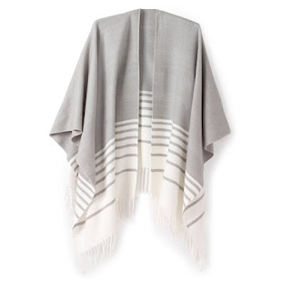 La Redoute Striped Poncho With Fringes