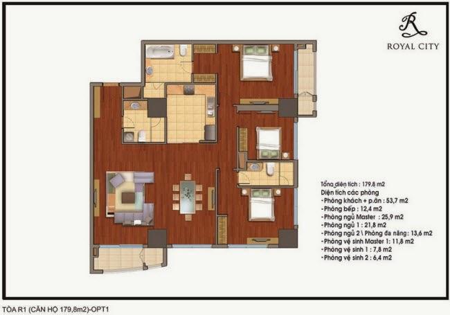 Mặt bằng căn hộ Royal City R1-179,8m2