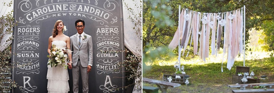 Wedding decoration diy creative wedding backdrops left draw write the bride grooms names on a blackboard with chalks right simple ribbon or paper strips junglespirit Images