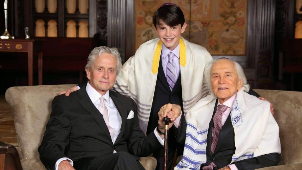 Michael Douglas, Kirk-Douglas and Michael's son at his bar mitzvah