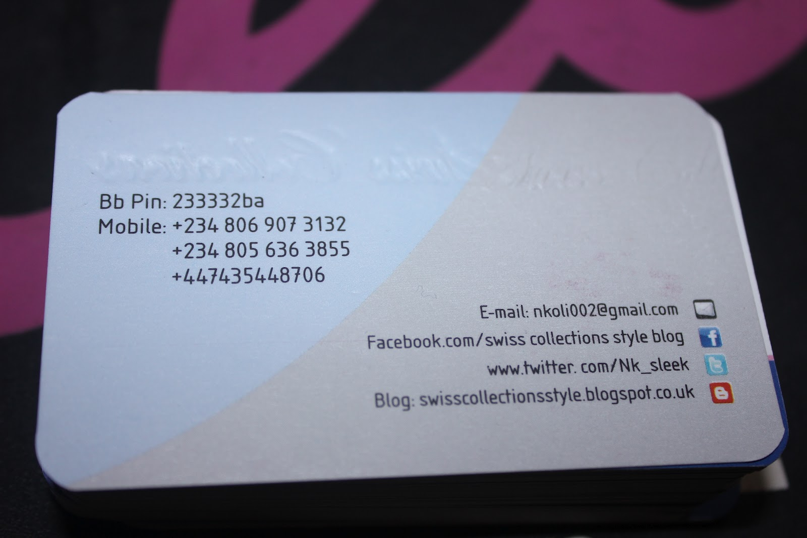 Swiss Collections Style.: My Business Cards Just Arrived Today :-)