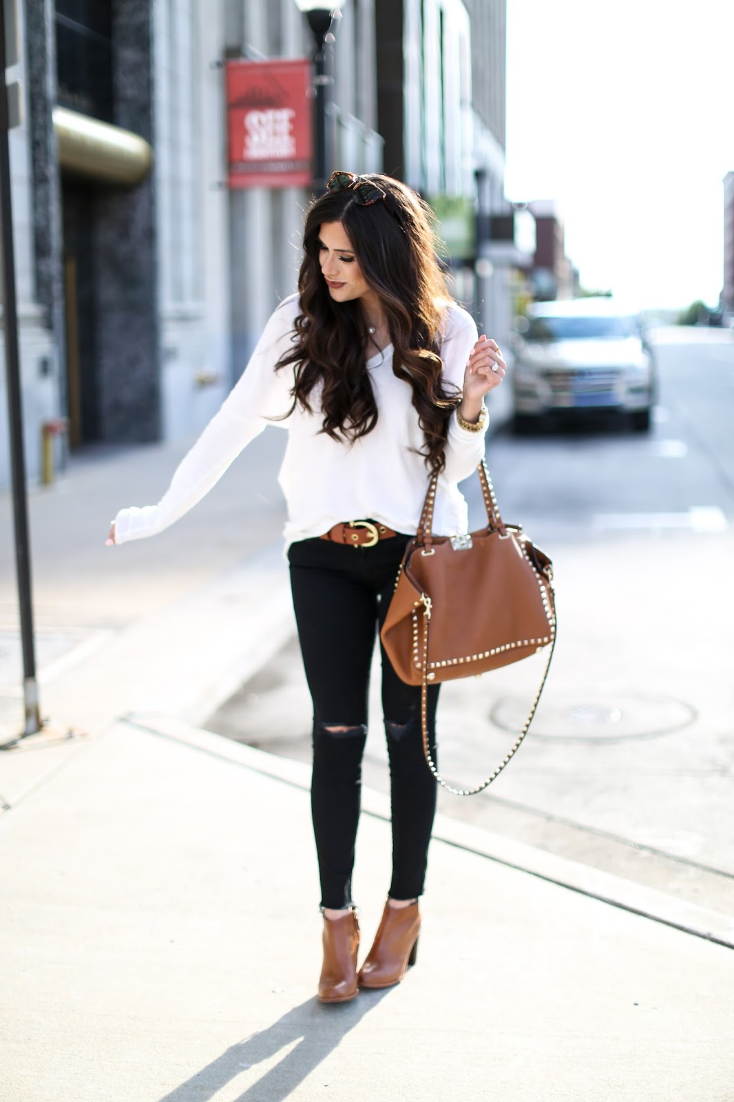 brunette wavy hair tutorial, white sweater with black ripped skinnies, brown booties for fall , cognac booties, nordstrom booties tan, dior So real sunglass lookalike, pinterest fall outfits, pinterest fall ootd 2015, easy and casual fall outfits, brunette medium wavy layered hair, valentino rockstud handbag tan, emily gemma blog, the sweetest thing blog, oversized monogram necklace, MAC whirl lipstick