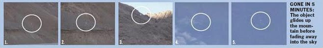 The humanoid like object ascending the mountain and then getting airborne