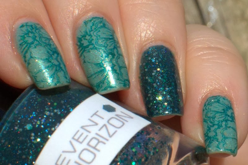 Scofflaw Wraith Pinned to the Mist with Nerdlacquer Event Horizon and stamping with A-England St. George